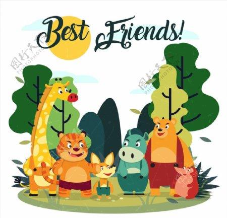 卡通笑脸森林动物图片