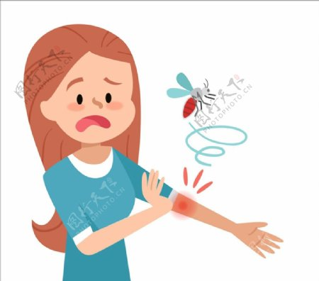 被蚊子叮咬的女子图片