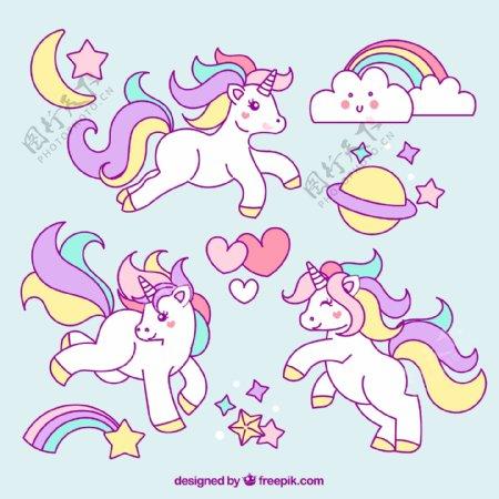 独角兽彩虹矢量设计素材图片