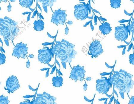 四方连续玫瑰蓝色图片