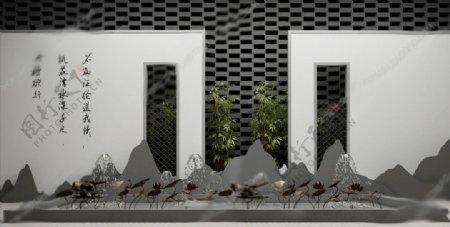 中式金属荷花景观小品3D模型图片