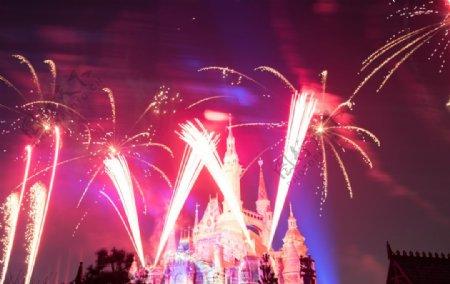迪士尼城堡烟火表演背景图片