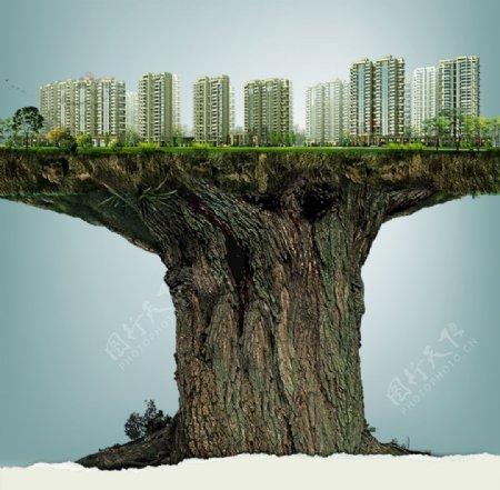 大树上的城市图片