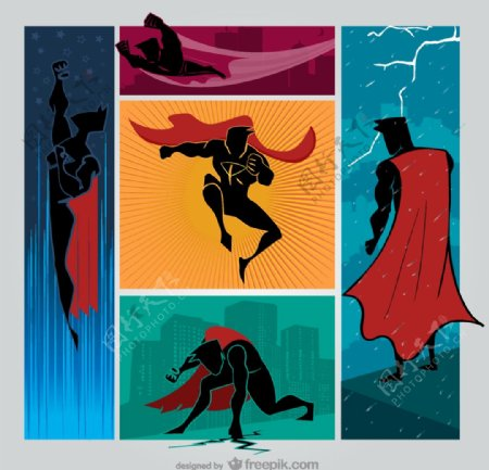 超人剪影组合图片