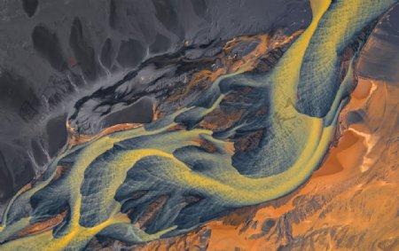 山川河流地质纹理黄色背景质感图片
