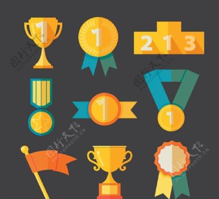 奖杯与奖牌矢量图片