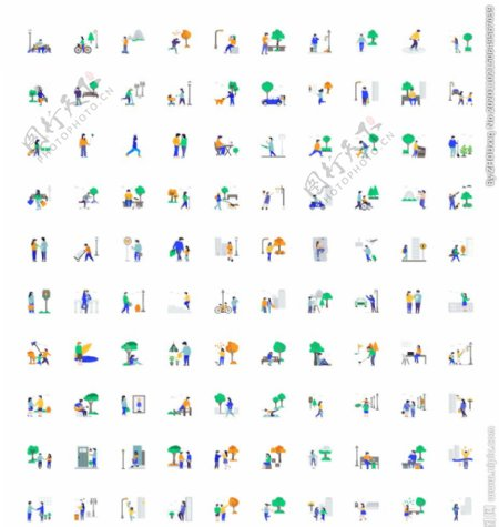 城市生活插画icon图片