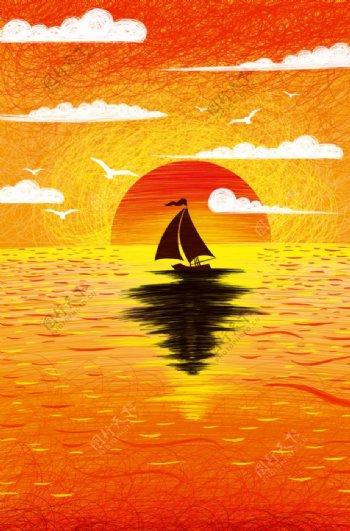 夕阳日落帆船插画卡通背景素材图片