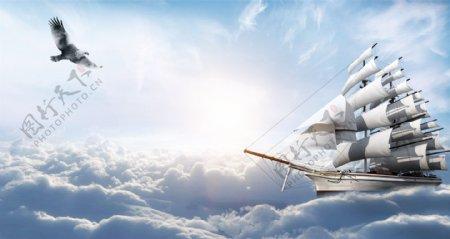 帆船背景图图片