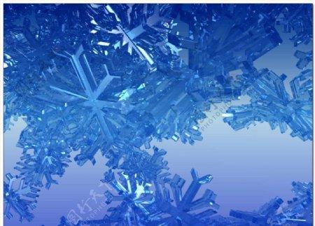 晶莹剔透的雪花视频