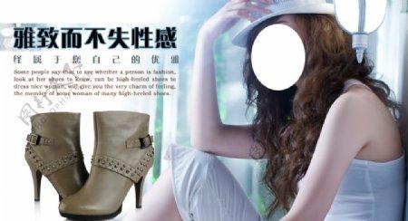 时尚优雅性感高跟鞋宣传促销图图片