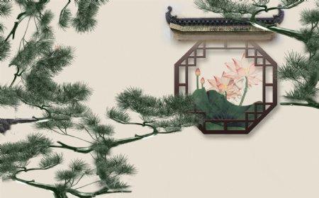 松树传统复古背景素材图片