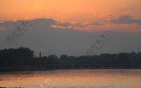 戴河日落图片