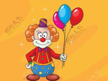 手握气球束的小丑图片