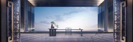 中式大门廊架茶桌图片