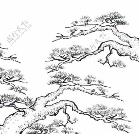 线条松树装饰元素图片
