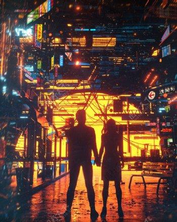 日出日落城市图片