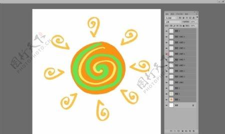 太阳棒棒糖光线卡通图案图片