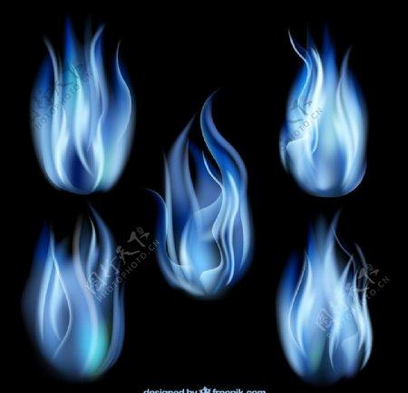 蓝色火焰矢量图片