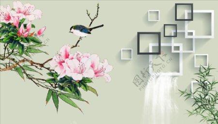 花鸟画芙蓉花竹子背景墙图片