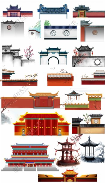 中式庭院围墙和大门大全汇总图片