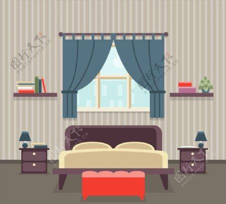 条纹壁纸卧室图片
