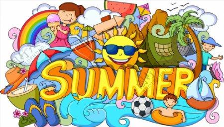 多彩的夏天插画图片
