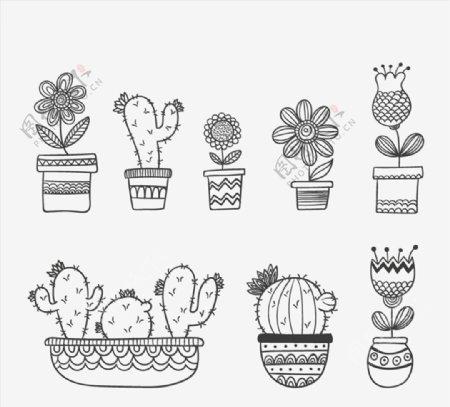 手绘花卉盆栽图片
