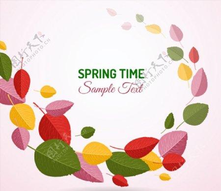 春天树叶矢量图片