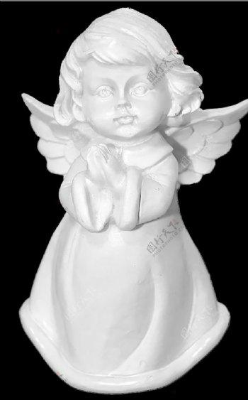 小天使祈祷石膏装饰品图片