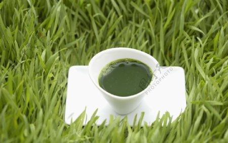 抹茶绿茶饮料饮品背景素材图片
