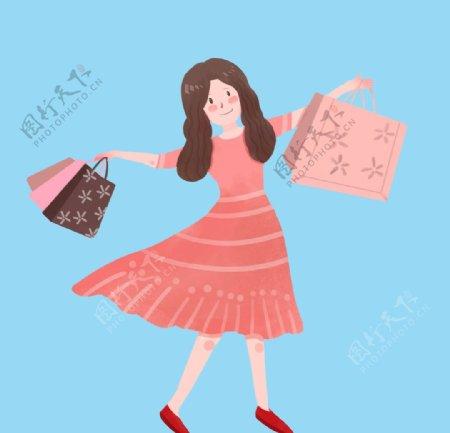 开心购物起舞的女孩图片