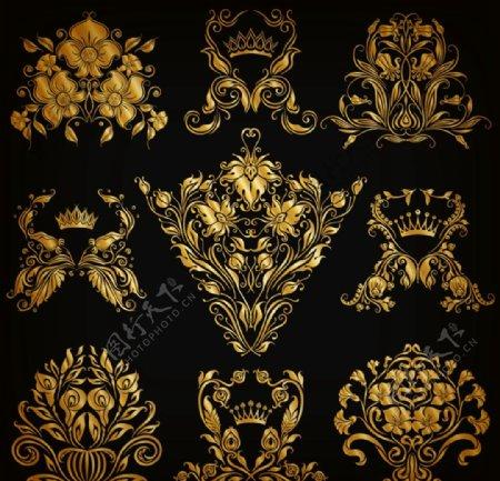 金色奢华花纹图案图片