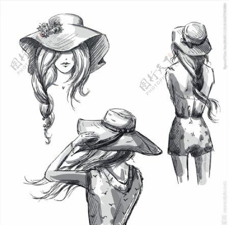 素描人物矢量图片