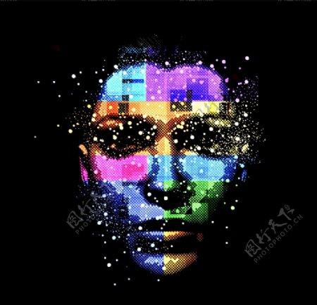彩色人体面部矢量图片