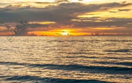 美丽彩色日落海边壁纸背图片