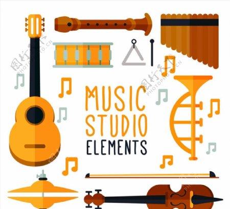 音乐工作室乐器图片