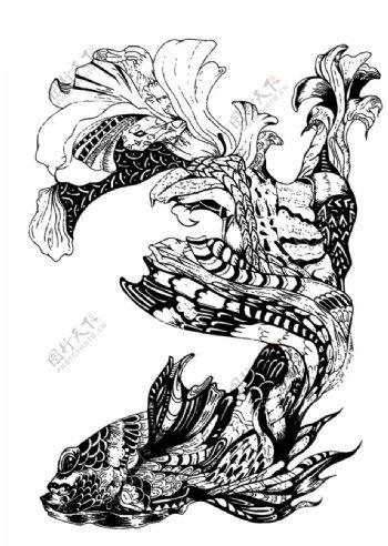 锦鲤手绘图片
