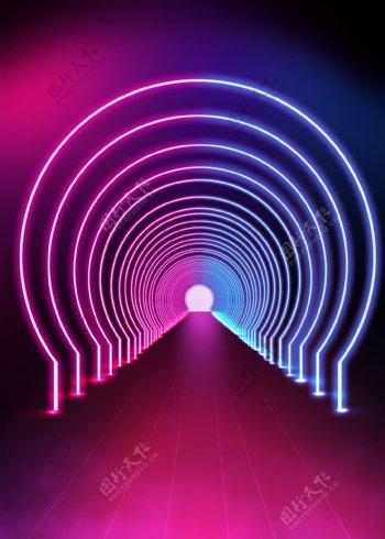 彩色霓虹立体空间背景图片