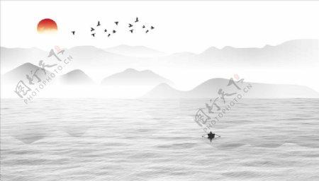 水墨画水波纹小船太阳图片