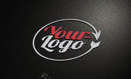 黑色背景金属立体LOGO图片