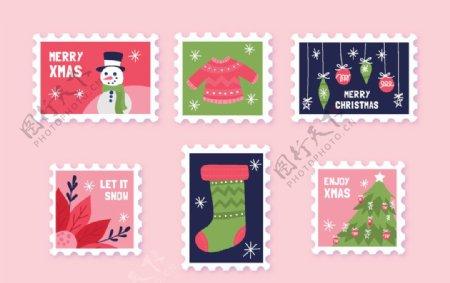 圣诞节卡通邮票矢量素材图片