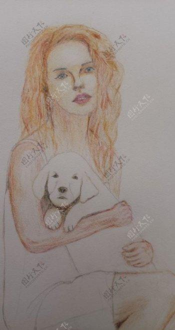 彩铅画女人小狗美女图片