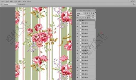 粗细间隔条纹民族唯美花卉碎花图片