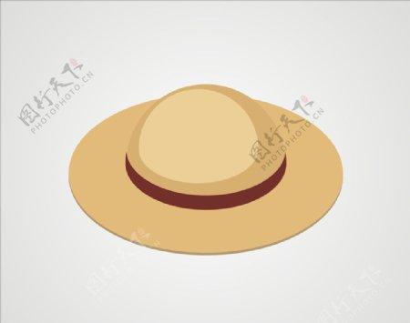 帽子草帽矢量图片