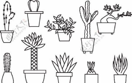 卡通盆栽简笔画矢量图图片