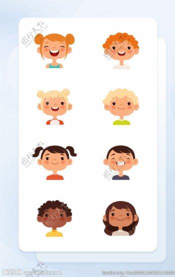 彩色手绘人物头像矢量插画图标图片