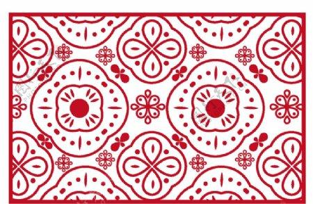 红色喜庆复古印花图案图片