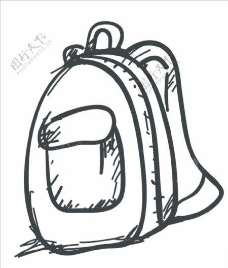 素描书包背包图片