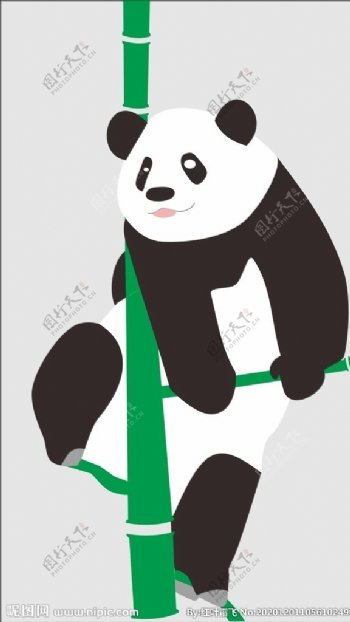 矢量熊猫爬竹子卡通手绘图片